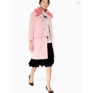 Kate Spade Faux Fur Trim Coat Tulip Pink Wool 6